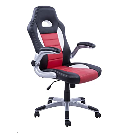 HOMCOM Racing Car Office Chair Swivel Excutive Computer Gaming Seat PU Leather With Adjustable Armrest Home
