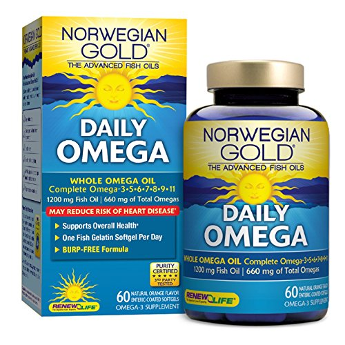 Norwegian Gold   Daily Omega    Whole Omega Fish Oil Supplement   Burpless   Brain And Hearth Health   60 Softgel Capsules   A Renew Life Brand