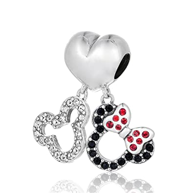 SC Mickey and Minnie Mouse Pendant Charm Sterling Silver S925