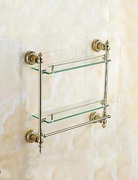 Baldas de baño Gold-plated Toalla Estante Estilo Europeo De Oro De Cristal De Baño