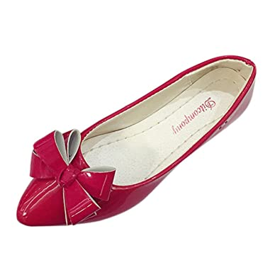 Siswong Zapatos Plano de Fiesta de Mujer Para Bodas Elegantes Mocasines Bailarinas de con Lazo (