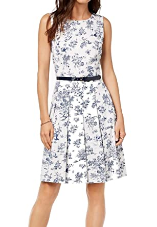 3b1fe756511 Image Unavailable. Image not available for. Color  Tommy Hilfiger Womens  Floral A-Line Pleated Dress Whites