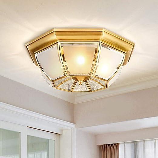 Lámpara LED Lámpara de techo Led de cobre europeo Dormitorio de vidrio americano Sala de estar