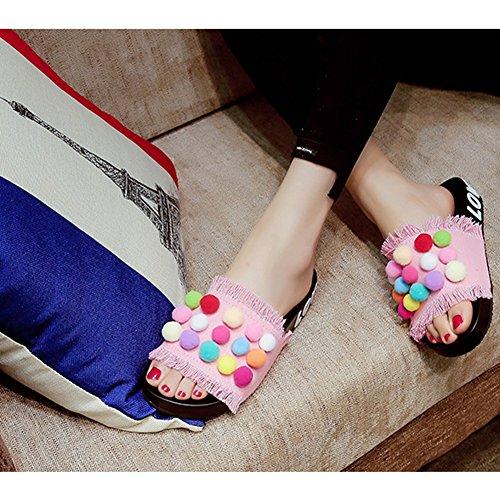 T-juli Kvinna Flickor Casual Mode Flip-flops Låsnings Strand Toffel Platt Sommar Sandaler Rosa