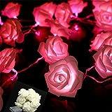 VIPMOON 2M 20LED String Lights Bright Warm Rose Flower Lamp Fairy Light Wedding Gardens Party Christmas Decoration - Pink