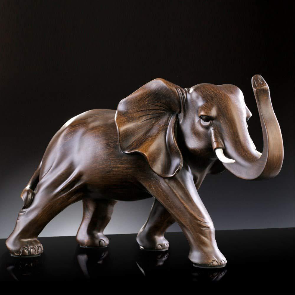 Miniature Garden Decoration Resin Elephant Figurine Home Statue Crafts Office Living Room Feng Shui Elephant Decor Ornaments (Large L)