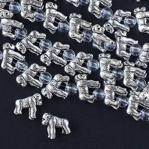(Cherry Blossom Beads Silver Pewter 12x14mm Gorilla Beads - 7 Inch Strand)