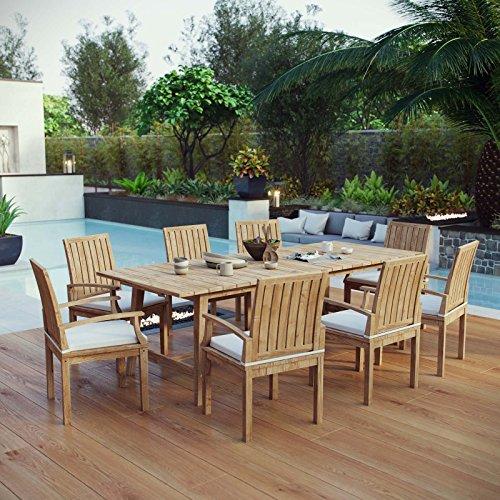 Modway EEI-3312-NAT-WHI-SET Marina Premium Grade Wood Patio Teak Outdoor Dining Set, 9 Piece, Natural White
