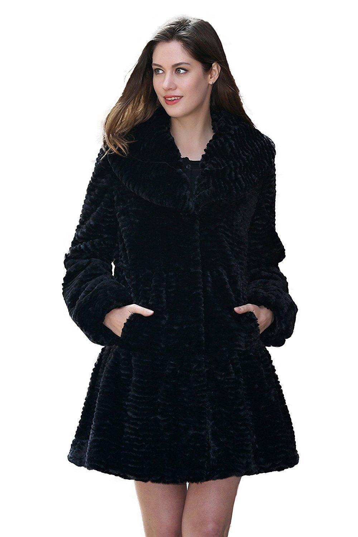 Adelaqueen Faux Fur Coat Jacket Women Black Long Sleeve Coat Jacket Large Winter Coat Clothing Plus Fluffy Fake Fur Coat Thick Cheap Fashion Faux Fur Lady Coat Outerwear Shaggy Fuzzy Elegant Coat L