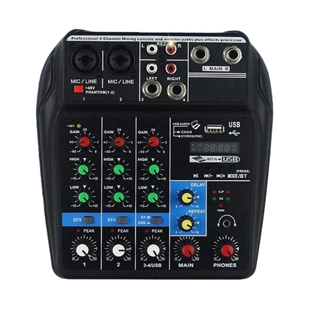 Martinimble Audio Mixer USB Audio Mixer Bluetooth Board Bluetooth Amplifier Board Amp Board Bluetooth Mini USB Audio Mixer Amplifier Amp Bluetooth Board 48V Phantom Power 4 Channels for DJ Karaoke