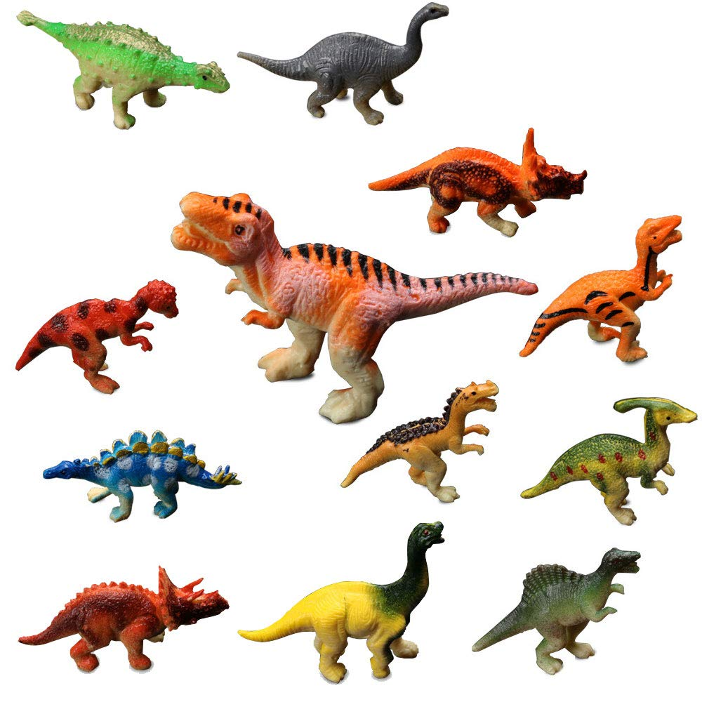 12 Pack Assorted Mini Dinosaur Play Set Realistic Looking Dinosaur Figures for Kids and Birthday Gifts,Cake Decoration,Party Supplies Rikuzo