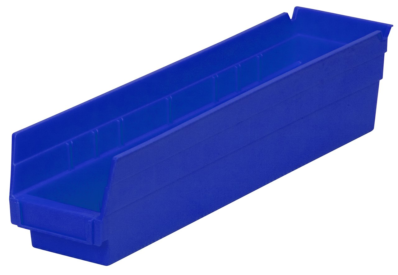 Akro-Mils 30128 18-Inch by 4-Inch by 4-Inch Plastic Nesting Shelf Bin Box, Blue, Case of 12