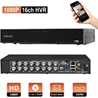 Evtevision 16 Channel 1080P CCT DVR 2.0MP Security Video Recorder,Support AHD/TVI/CVI/CVBS/Onvif IP Security Camera, w/HDMI Output, Smartphone Remote View,Motion Detection Email Alert,P2P Cloud,NO HDD