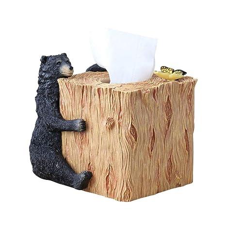 ZBJJ Portador de Toalla de Papel Resina Creativa Oso Rollo Caja de Papel Oficina Salón Comedor