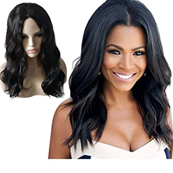 Amazon.com   Ladybeauty Synthetic Wigs For Black Women Natural Wavy Style  Black Color   Beauty 283bccb2d