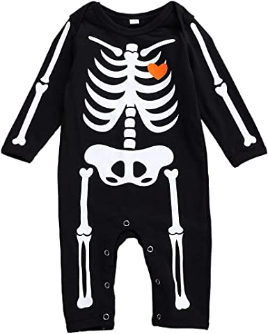 Baby Girl Halloween Skeleton Costume Coverall Pajamas Size 6-9 Months Black