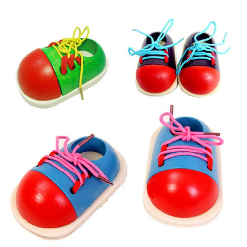 Learn How to Teach Kids to Tie Shoes Tie Shoelaces Your Shoes Lacing Ways to Tie Shoes Best Learning Toys for Toddlers Plan Preschool Tie-Up Shoe Preschool by Players(4 Pcs/2 Pairs)(color random) (1)