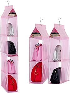 Detachable 4 Compartment Organizer Pouch Hanging Handbag Organizer Clear Purse Bag Collection Storage Holder Wardrobe Closet Space Saving Organizers System for Living Room Bedroom Home Use (Pink)