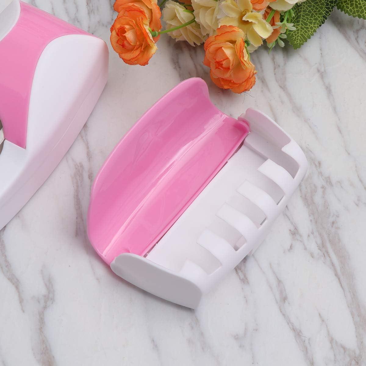 SUPVOX Soporte de Cepillos de Dientes Montaje en Pared Dispensador de Pasta de Dientes Rosa 2PCS