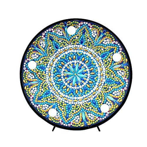 Diamond Painting Mandala with LED Lights DIY Special Shaped Full Drill Crystal Diamond Drawing Bedside Lamp for Home Decoration or Gifts-6x6in (Mandala-1#)