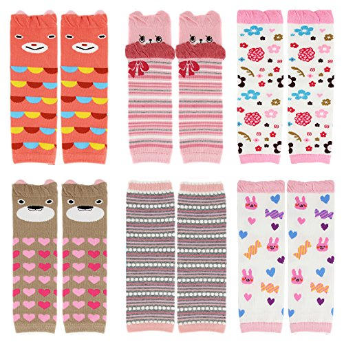 CMK Trendy Kids 6 Pairs Baby Leg Warmers Leggings Kneepads for Toddler Boys&Girls Crawling Socks