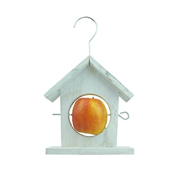 Bid Buy Direct Apple House Bird Feeder House Shaped Hanging Wooden Apple Feeder Natural Weather Resistant Wooden Construction This Novel Feeder