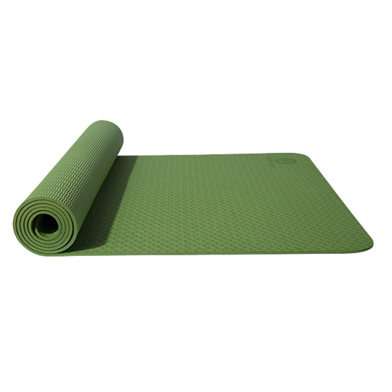 ノンスリップヨガマットTPEワイドパッドフィットネスマットピラティスダンス裸足エクササイズ有酸素ストレッチ腹部ジムキャンプマルチカラーオプション (色 : 緑)  緑 B07R2MFJRM