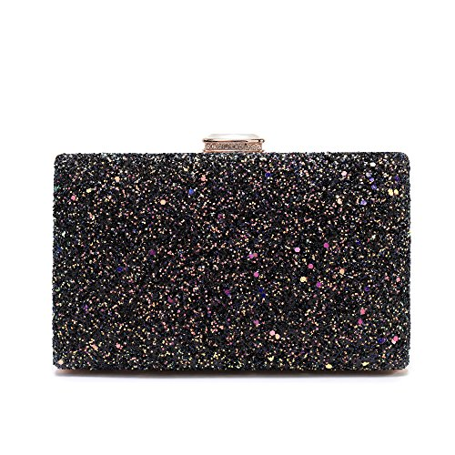 Women's Elegant Sparkling Glitter Evening Clutch Bags BlingEvening Handbag Purses For Wedding Prom Bride(Black) by Minicastle