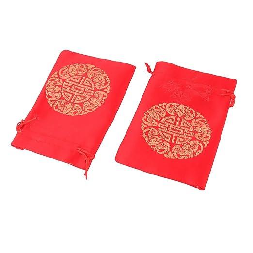 Amazon.com: eDealMax cordón Disfraces Caramelo Bolsa de la joyería monedero del brocado Regalo Bolsa DE 13 x 10cm 50pcs Rojas: Health & Personal Care