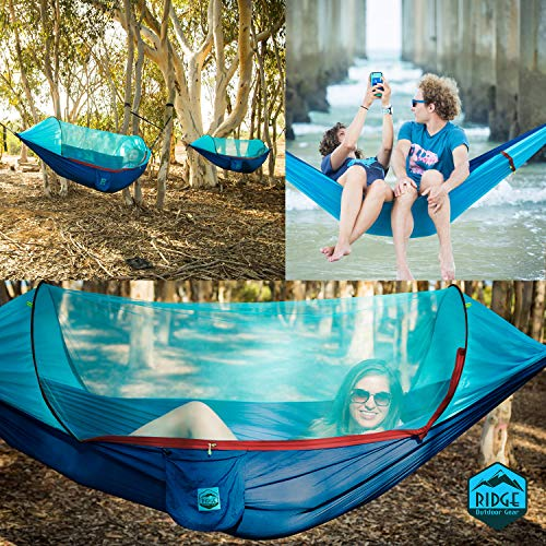 Hammock with Mosquito Net Tree Straps – Bundle – RIDGE Ultralight Portable Parachute Hammock Tent with Bug Netting, Straps, Carabiners -Backpacking Camping Hiking Travel Outdoor Backyard Single 2-IN-1