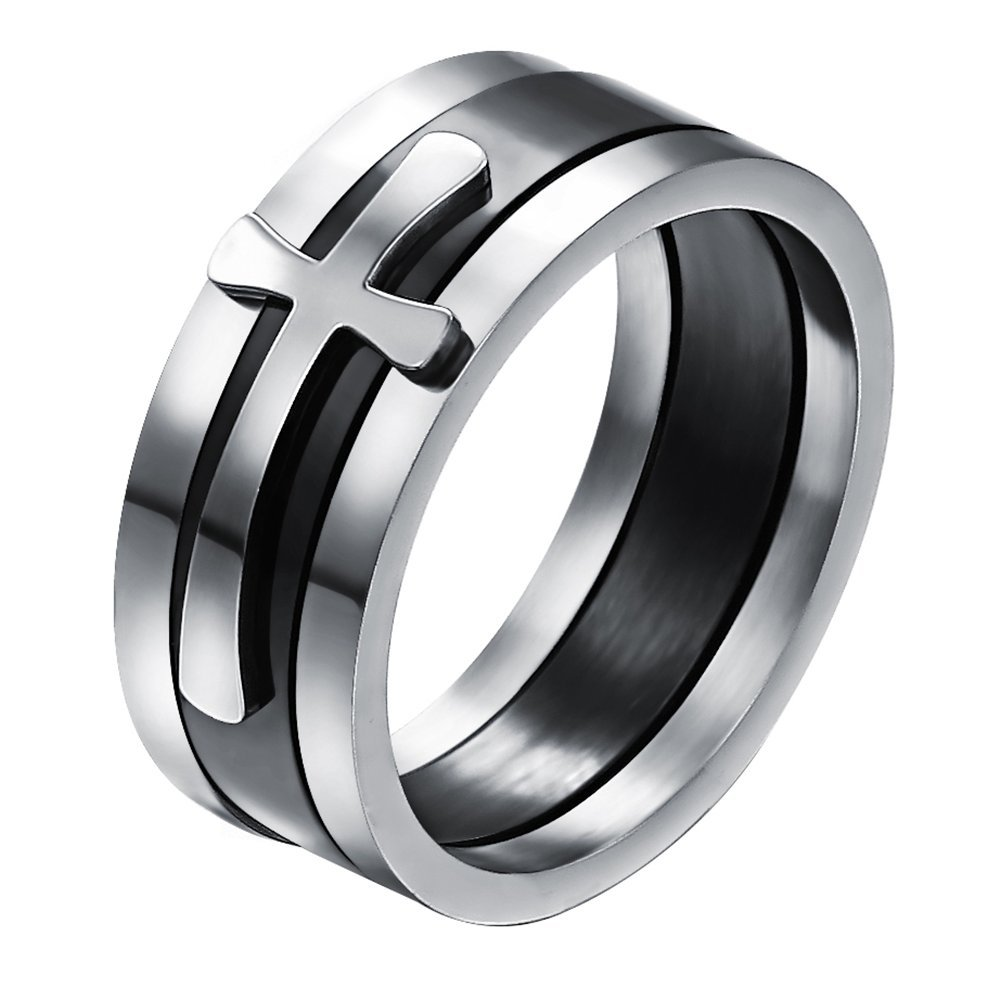 Onefeart Stainless Steel Ring For Men Boy Three In One Design Cross Shape Combination Ring Silver Size 8