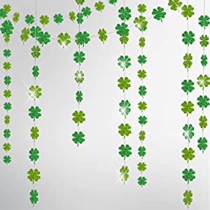 Cheerland Glitter Shamrock Clover Garland Kit for St Patricks Day Decorations Spring Party Streamer Banner Backdrop Hanging Clover Decor Irish Baby Shower Wedding Birthday Parties Decor