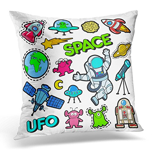 - Sdamas Decorative Pillow Cover Patch Badges Patches Stickers with Space UFO Robots and Funny Aliens in Pop Comic Style Cute Throw Pillow Case Square Home Decor Pillowcase 16x16 Inches