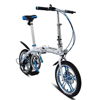 Grimk Bicicleta Plegable para Adultos Rueda De 16 Pulgadas Bici Mujer Retro Folding City Bike 6