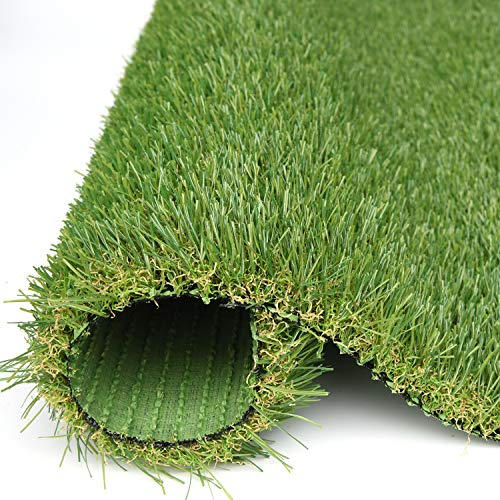 RoundLove Artificial Grass Turf, 4 Tone Synthetic Grass Patch Mat w/Drainage Holes, Lush & Hard Pet Turf Astroturf Rug, Fake Turf for Indoor & Outdoor Decor 28X40in ()