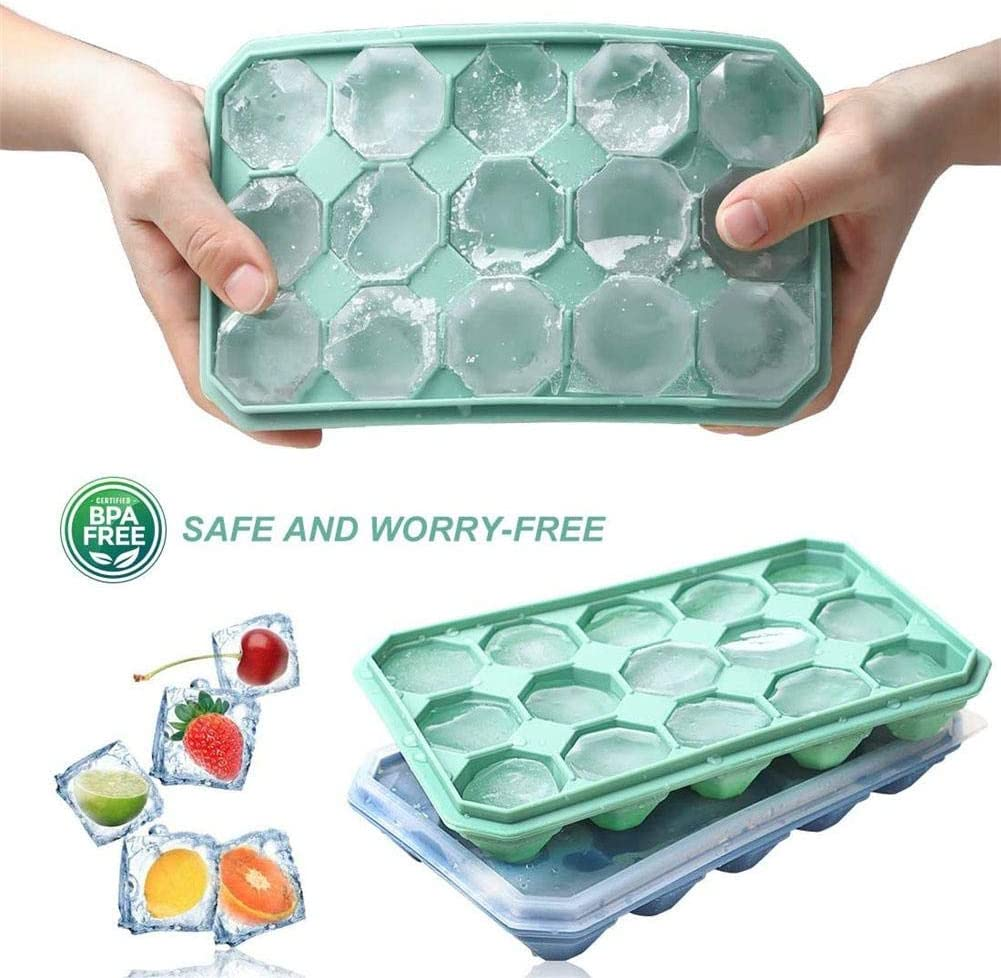 Taimot Silicone Ice Cube Trays with Lids Silicone Ice Cube Molds Trays Flexible Easy Release Small Square Ice Tray Diamond-Shaped Ice Maker for Cocktail Whiskey Candy Chocolate and More