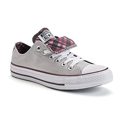 Converse Chuck Taylor All Star Double Tongue OX Fashion Sneakers, Ash Grey/Deep  Bordeaux