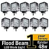 ( Pack of 10 ) TMH® 48w Square Shape 60 Degree LED Work Light Flood Lamp Driving Light, Jeep, Off-road, 4wd, 4x4, Utv, Sand Rail, Atv, Suv, Motorbike, Motorcycle, Bike, Dirt Bike, Bus, Trailer, Truck