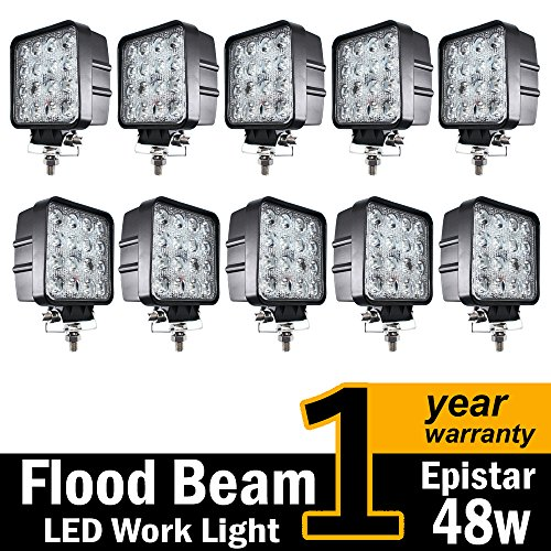 48w Square Shape 60 Degree LED Work Light Flood Lamp Driving Light, Jeep, Off-road, 4wd, 4x4, Utv, Sand Rail, Atv, Suv, Motorbike, Motorcycle, Bike, Dirt Bike, Bus, Trailer, Truck (24v Lamp)