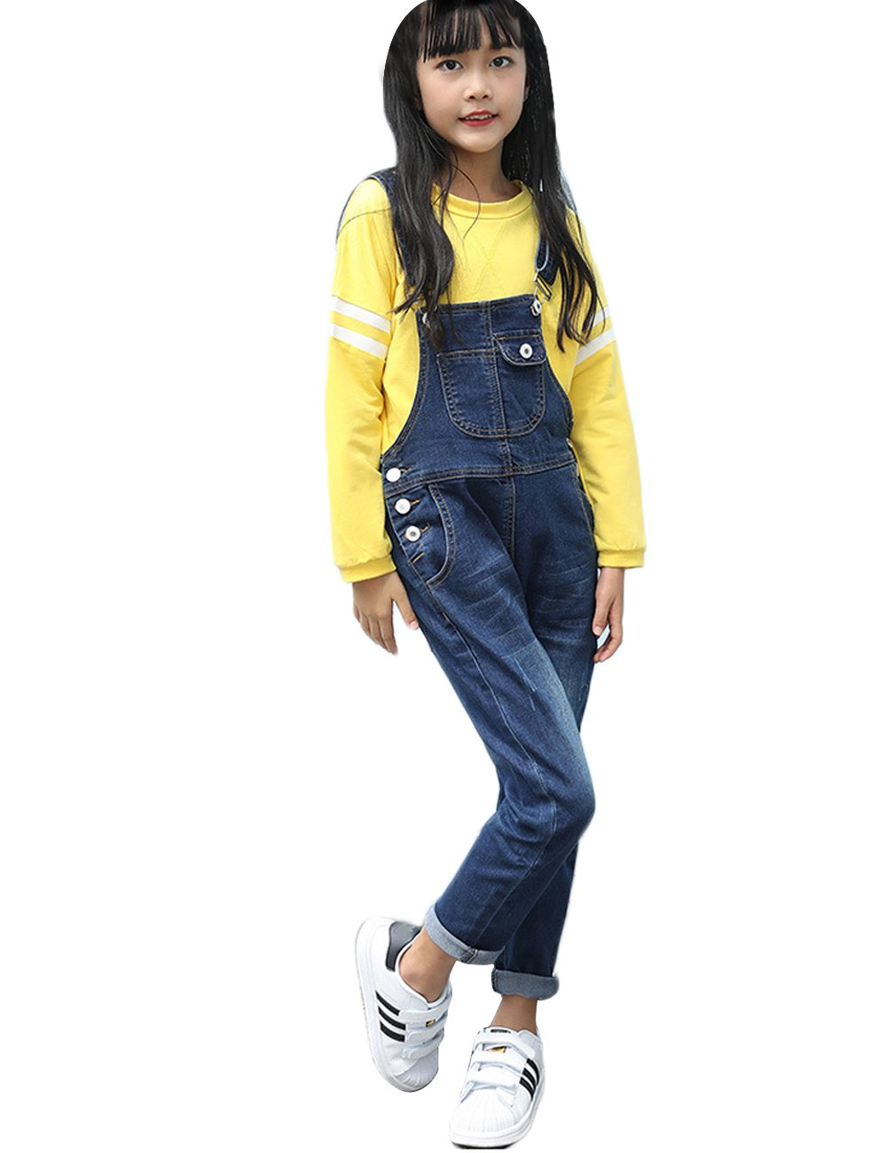 Menschwear Girl's Cotton Blue Denim Bib Overalls Stone Washed Casual Girl Bib Overalls (150cm,Blue)