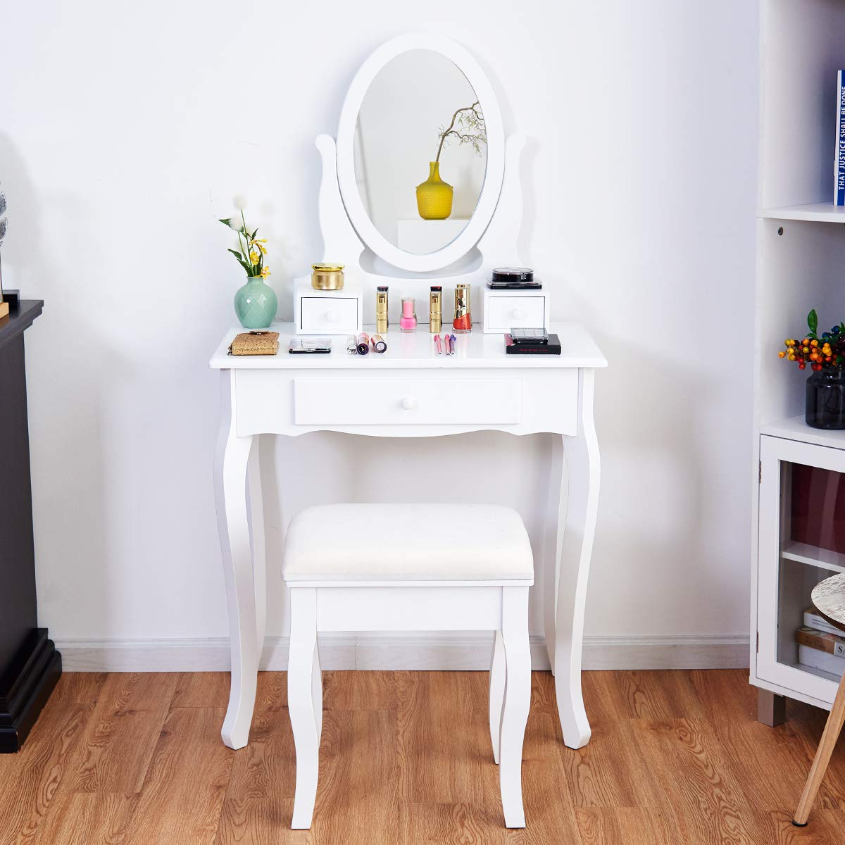 Giantex Vanity Table Set 3 Drawers with Mirror, Cushioned Bench Bathroom Bedroom Wood Room Vanities Removable Top Dual Use Jewelry Makeup Dresser Desk, Dressing Tables w/Stool, White