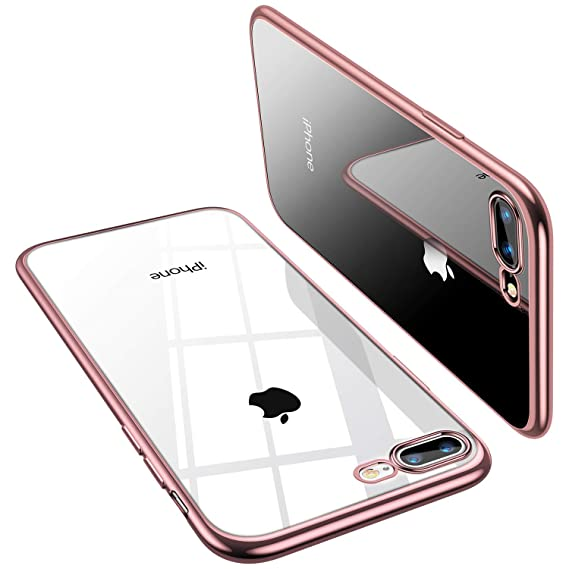 cheap for discount 187a1 91802 TORRAS Crystal Clear iPhone 8 Plus Case/iPhone 7 Plus Case, [Upgraded] Soft  TPU Cover Slim Gel Phone Case for iPhone 7 Plus/8 Plus, Rose Gold
