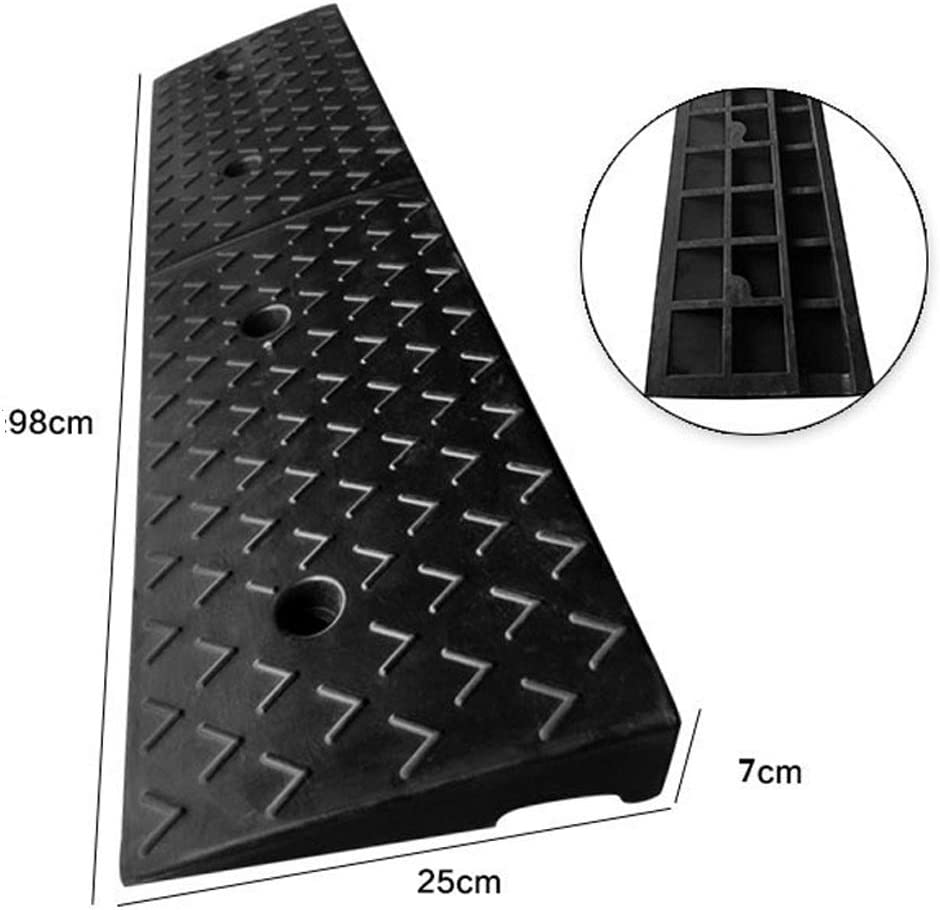 LPYMX Ramp Rubber Curb ramps Curb ramps Boarded Rubber Boats for The Caravan Trailer Threshold Slope Size : 98257CM