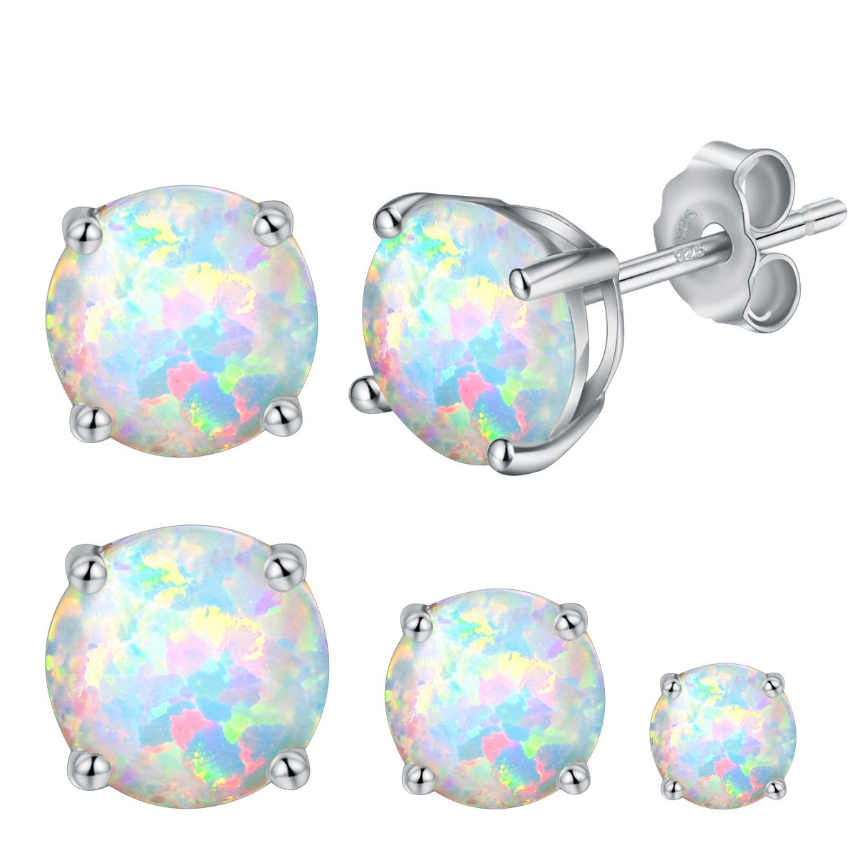 925 Sterling Silver 3/5/7mm Round Opal Stud Earrings Plated With 18K White Gold Pack of 3