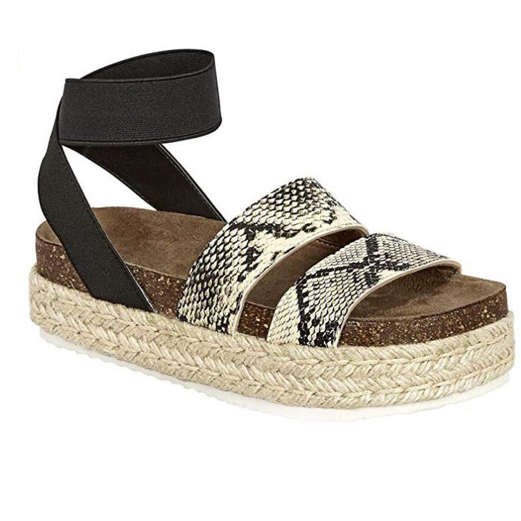 Lurryly Womens Fashion Snake Grain Flat Open Toe Ankle Elastic Band Straps Roman Sandal