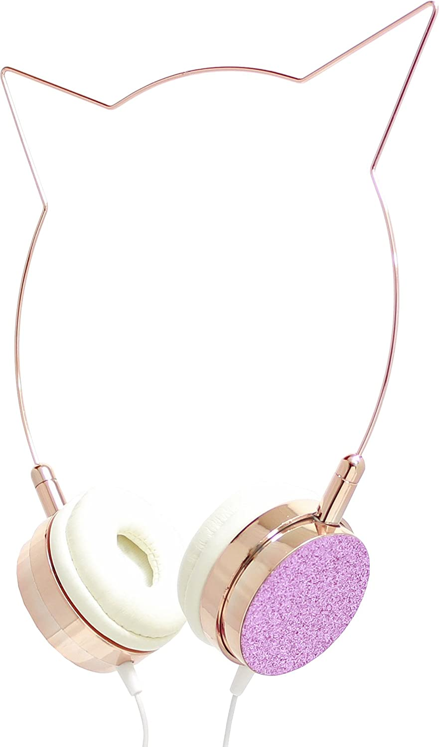 Kitty Cat Ear Headphones Wire Frame Headset With 30 Ddm To Audio Level Meter Volume Control And Microphone Rose Gold Crystal Toys Games