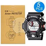 [5-Pack]For Casio GW-9400 /GW9400 Watch Screen Protector, Full Coverage Screen Protector HD Clear Anti-Bubble and Anti-Scratch For gw-9400 / GW-9400-1CR /GW-9400-3CR /GW-9400J-1JF