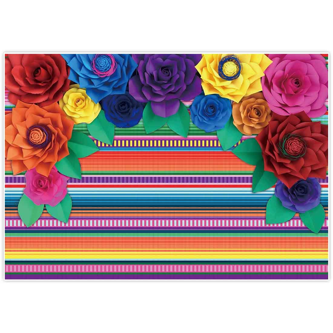 Allenjoy 7x5ft Mexican Fiesta Theme Backdrop for Photography Colorful Paper Flowers Decor Festival Birthday Party Decor Cinco De Mayo Carnival Banner Decorations Background Photo Studio Booth Supplies by Allenjoy