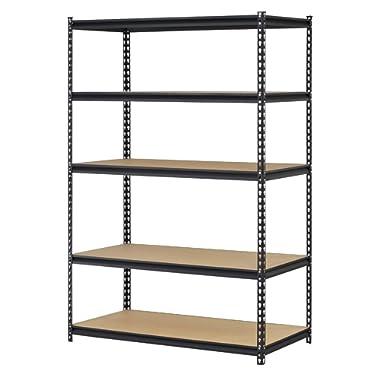 EDSAL Black Steel Storage Rack, 5 Adjustable Shelves, 4000 lb. Capacity, 72  Height x 48  Width x 18  Depth