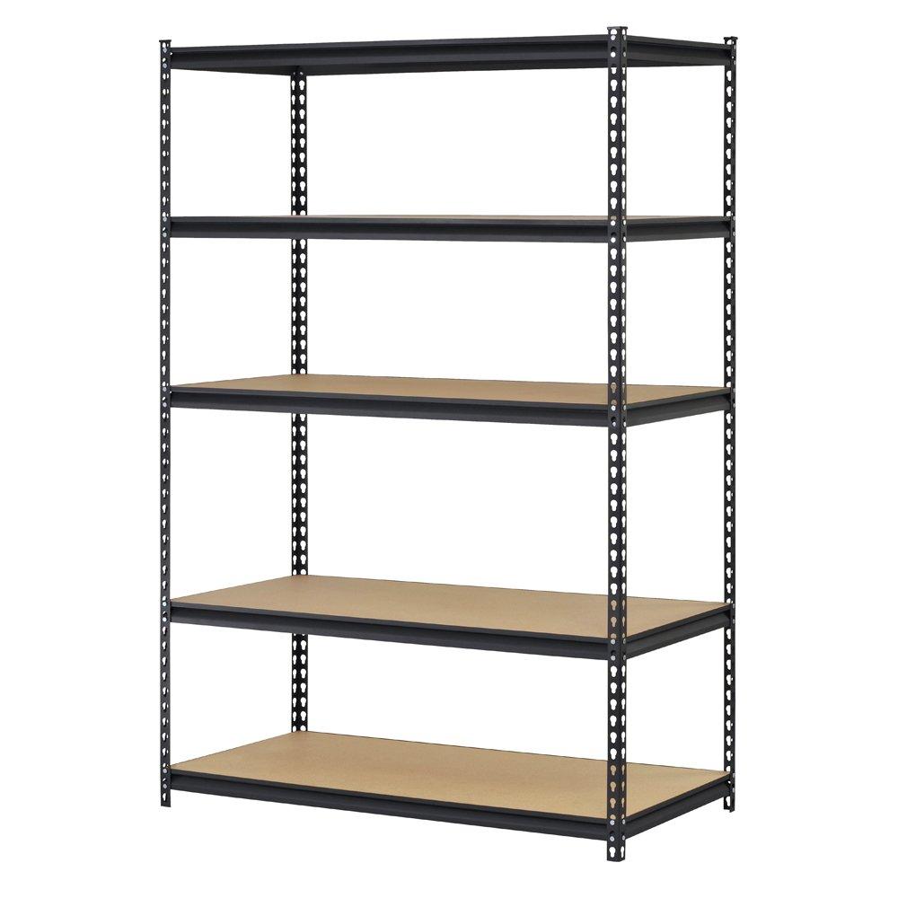 Edsal URWM184872BK Black Steel Storage Rack, 5 Adjustable Shelves, 4000 lb. Capacity, 72'' Height x 48'' Width x 18'' Depth
